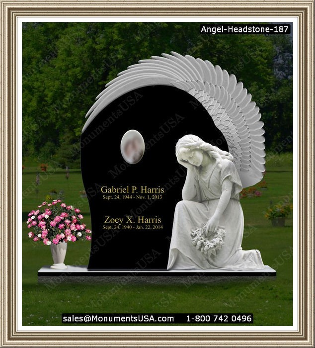 Bronze Statue - Ceramic photo on headstone