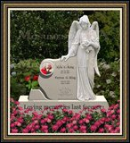 Granite Headstone Weeping Angel Figure