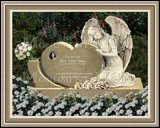 Granite Gravestone Weeping Angel Figure