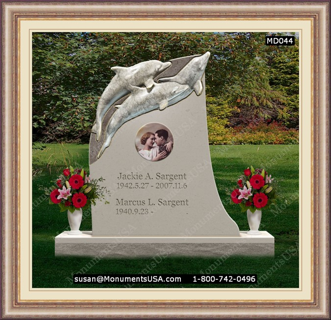 Monuments Md044 Dolphin Themed Headstone