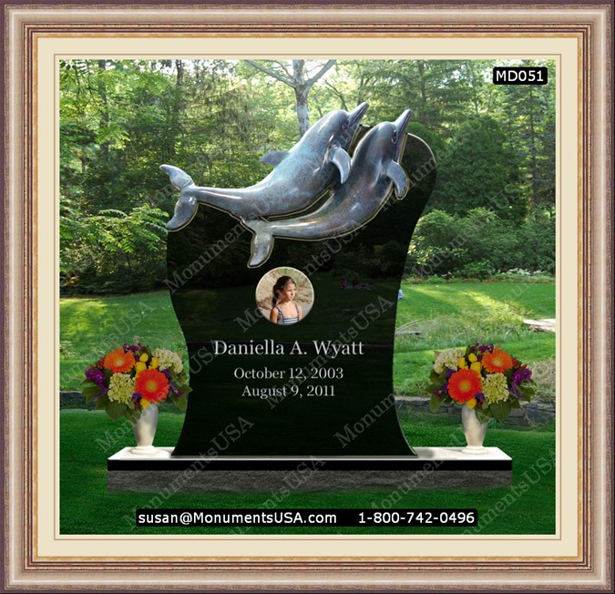 Monuments Md051 Dolphin Themed Headstones Online